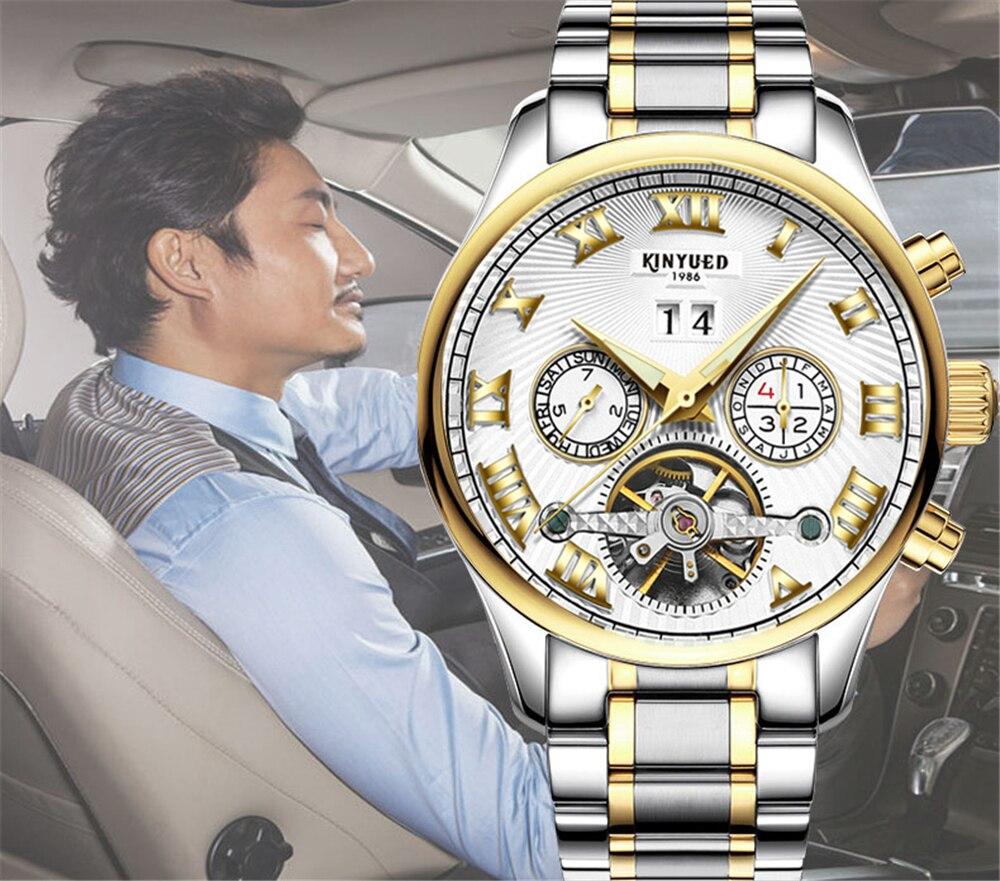 KINYUED Top Brand Mens Relojes Mecánicos Automático Tourbillon - Relojes para hombres - foto 3