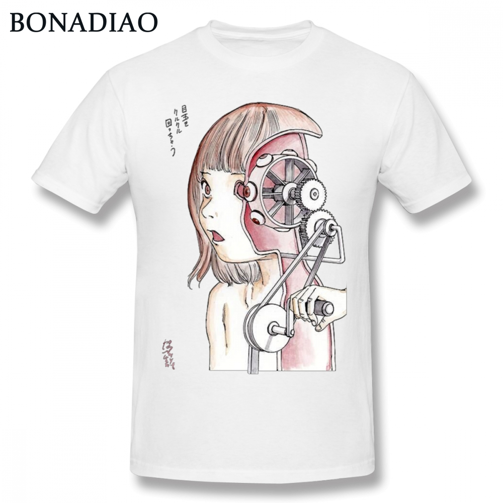 T-shirts Tops & Tees For Male Shintaro Kago Fraction T-shirt Quality Manga Junji Ito T Shirt Round Neck Free Shipping Camiseta