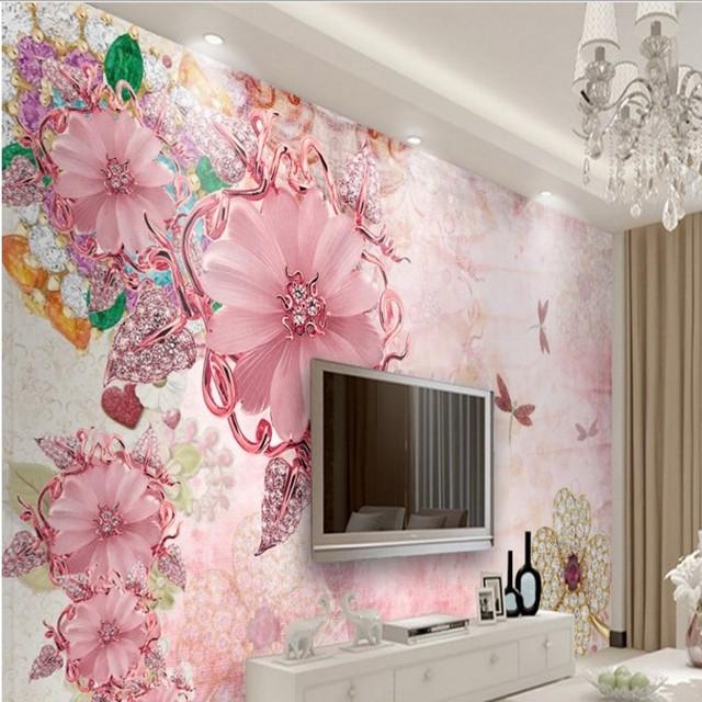 beibehang Large Custom Wallpapers European Court Wind Pink Jewelery ...