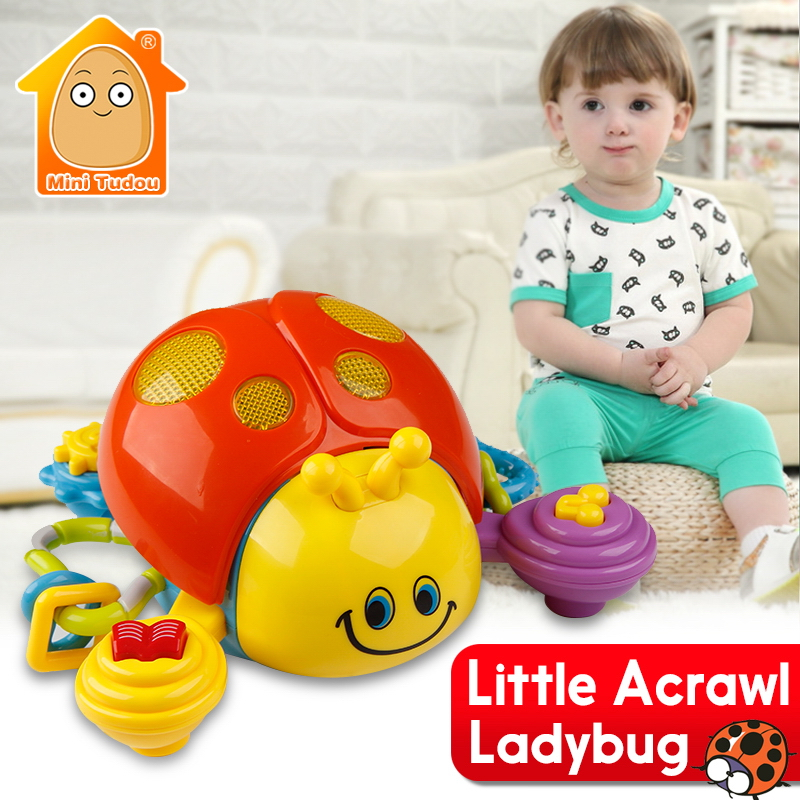 Electronic Pet Toys Crawling Little Ladybug With Light Baby Mobile Musical Toy Early Learning Educational Toys For Children Gift