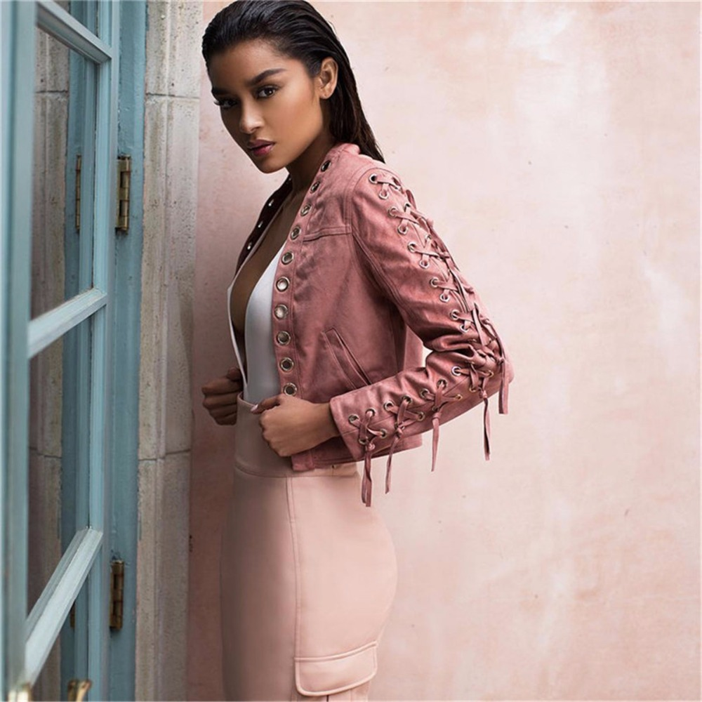 New Autumn Fashion Pink Suede Fringe bomber   Basic     jacket   women female coat Short Lace Up Tassel Streetwear   jackets   outwear