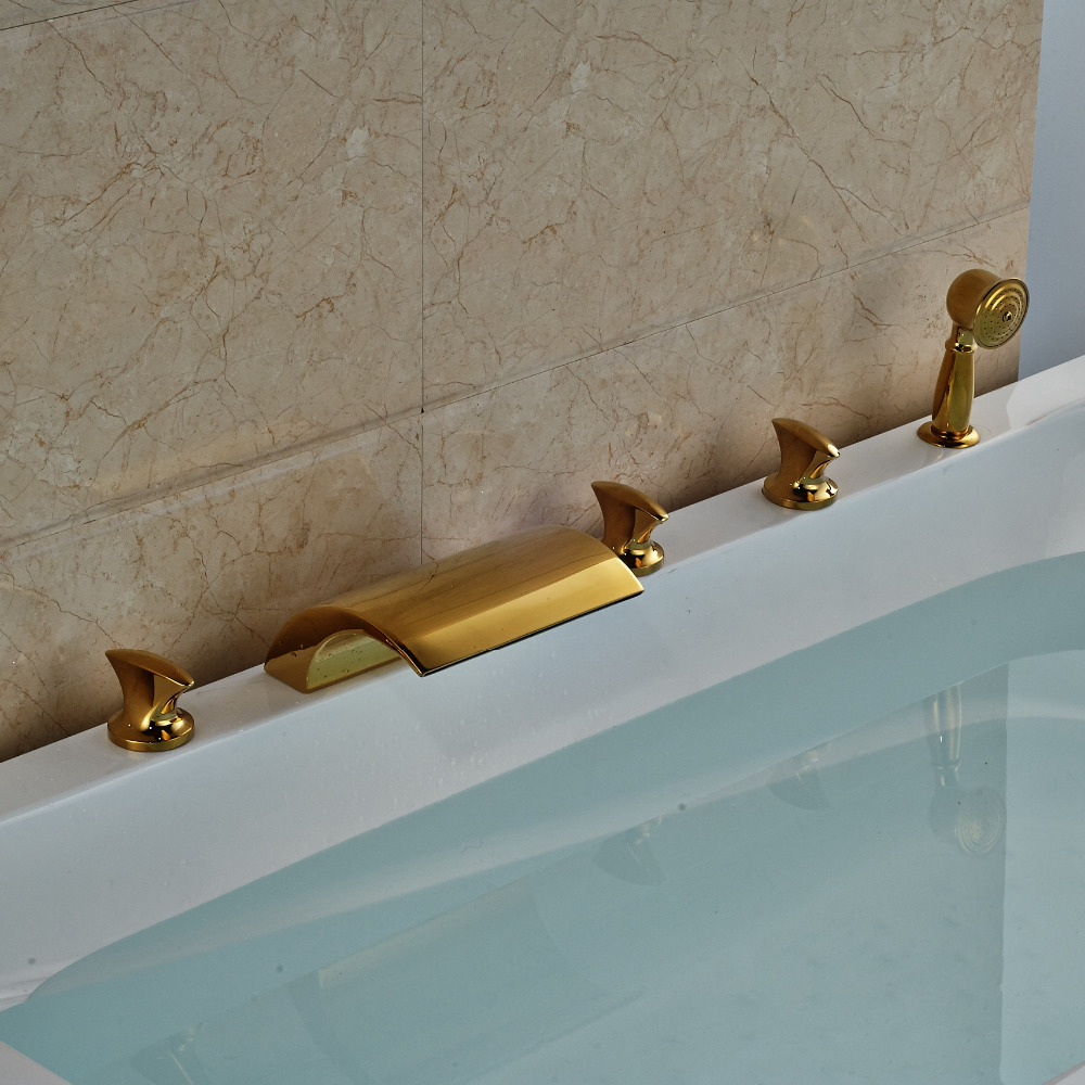 Luxury Gold Polish Tub Faucet 5pcs Deck Mounted Waterfall Spout With Hand Shower european gold polish