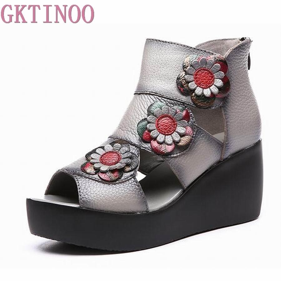GKTINOO Summer New Soft Bottom Genuine Leather Women Shoes Platform Wedges Women Sandals Retro Handmade Sandals