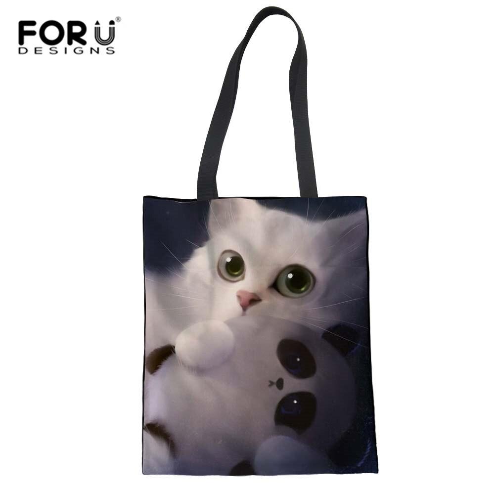 3D Foldable Shopping Bag Canvas Tote Dreamy Watercolor Cat Mom Shopper Grocery Bag Cloth Handbags