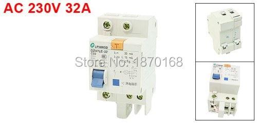 DZ-47LE-32 10A 16A 20A 25A 32A 40A 50A 63A AC 230V 32A 3KA 1 P 1 P + N miniatur Circuit breaker, Din rel DZ47LE-32 63a 3 p 3 p n rcbo rcd выключателя de47le delxi