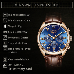 Image 3 - LIGE relojes para hombre, cronógrafo de lujo, de cuero, deportivo, resistente al agua, militar, Masculino