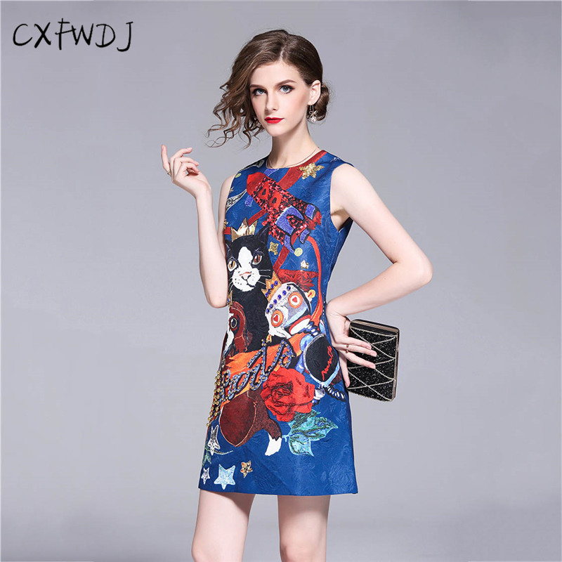 Summer Women chinses style products Jacquard Cotton Round neck Sleeveless Beading Diamond Sequins Printed Slim Mini Dress Blue