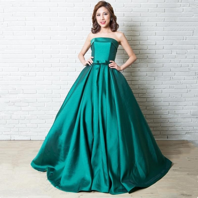 Katristsis d Hot sale party prom dress Long Vestido de Festa 2019 green satin lace-up back simple style gown