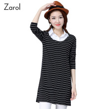 False Two Pieces Striped Shirts Casual T Shirt Office Women's Clothing 2017 Spring Autumn Long Sleeve Tops Plus Size XXXL 4XL