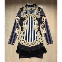 2017 autumn and winter catwalk long sleeve luxury heavy nails bead hanging stretch tight