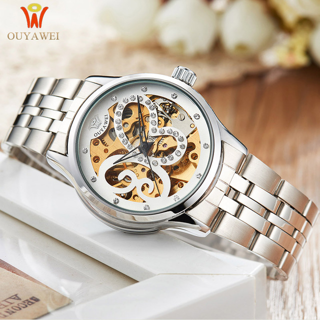 Watch women Automatic Mechanical Watches Top Brand Skeleton Stainless steel Clock Elegant Ladies Watch for women Montre Femme