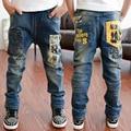 Otoño 2017 nuevos niños 's pantalones vaqueros grandes niños pantalones impresos pantalones de los niños ropa boy