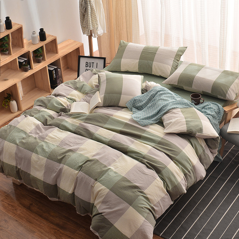 Modern Quilt Cover Set Plaid Print Bedding Sets Bedlinen Super King Size For Kids S 100 Cotton 4pcs 2m Bed In From Home