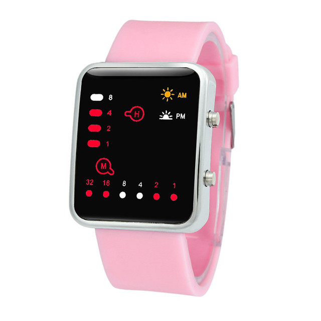 Women Mens Digital Red LED Sports Watch Binary Wristwatch Silicone Store Sales P