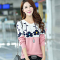 Autumn Winter New Fashion Women Sweater Plus Size Korean Style Patchwork Pullovers Long Sleeve O-neck Casual Knitwear 62926