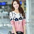 Otoño Invierno Nueva Moda Suéter de Las Mujeres Más Tamaño Patchwork Estilo Coreano Prendas de Punto Jerseys de Manga Larga Del O-cuello Ocasional 62926