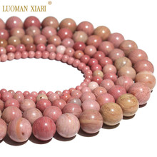 Strand 15'' Wholesale Natural Rhodochrosite Red Stone Beads For Jewelry Making Pink beads DIY Bracelet  4mm 6mm 8mm 10mm 12mm