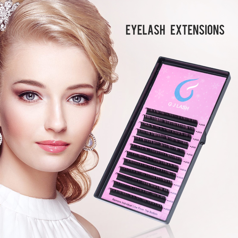 False Eyelashes Gjlash 12 Lines 9-15mm Individual Eyelash Extension J/b/c/d Individual Lashes Extension Handmade 3d Russia Eyelash Extension Hot Sale 50-70% OFF