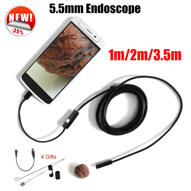 Antscope Endoscope 5.5mm Endoscope USB Android Camera 1M 2M 3.5M Car Pipe Inspection Snake Tube MicroUSB Endoskop Camera 7mm lens mini usb android endoscope camera waterproof snake tube 2m inspection micro usb borescope android phone endoskop camera