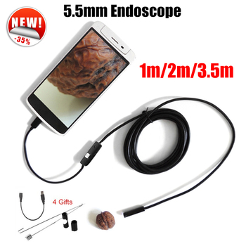 Endoscope 5.5mm Lens Endoscope USB Android Camera 1M 2M 3.5M Waterproof Car Pipe Inspection Snake Tube MicroUSB Endoskop Camera Браслет