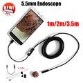 Endoscopio 5.5mm Lente Del Endoscopio Del USB Androide Cámara 1 M 2 M 3.5 M A Prueba de agua Del Coche Tubo De La Serpiente Inspección de Tubos MicroUSB Endoskop Cámara