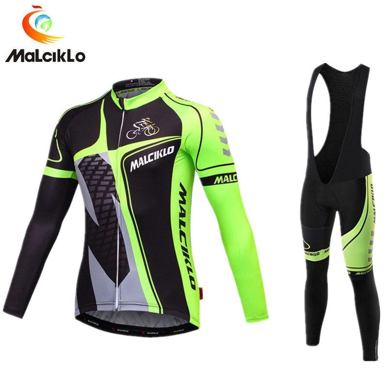 Men s Fluo Green Black Cycling Set Long Sleeve Cycling Jersey 2018 Ropa Ciclismo Mountain Bike