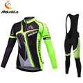 Men's Fluo Green Black Cycling Set Long Sleeve Cycling Jersey 2018 Ropa Ciclismo Mountain Bike Wear Clothes Skinsuit Maillot Cycling Sets Sports & Entertainment -