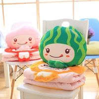 Super Cute 1Pc 45Cm Lovely Fruit Plush blanket (100x150Cm) Kawaii watermelon Peach Orange strawberry Plush cushion creative gift