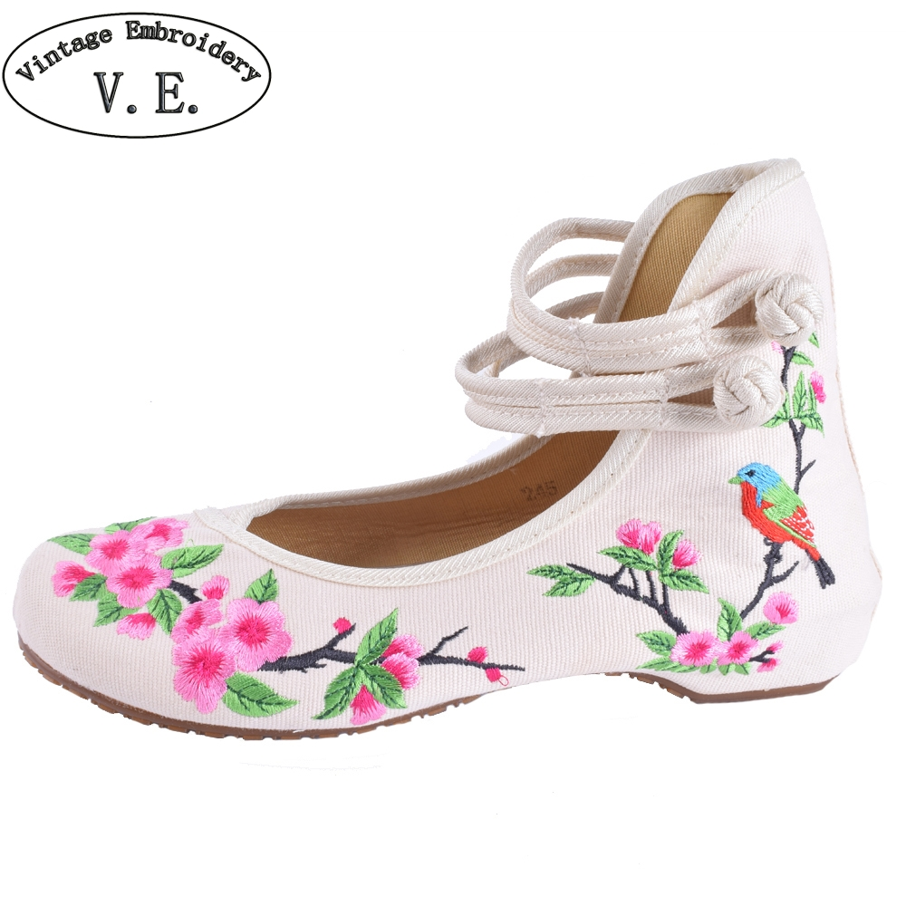 Ethnic Women Embroidery Shoes Mary Jane Shoes Flats Dance Soft Canvas Dancing Shoes Zapatos Mujer Ladies Flat Shoes