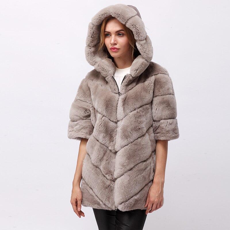 CNEGOVIK Breve reale Del coniglio di Rex giacca di pelliccia con cappuccio
