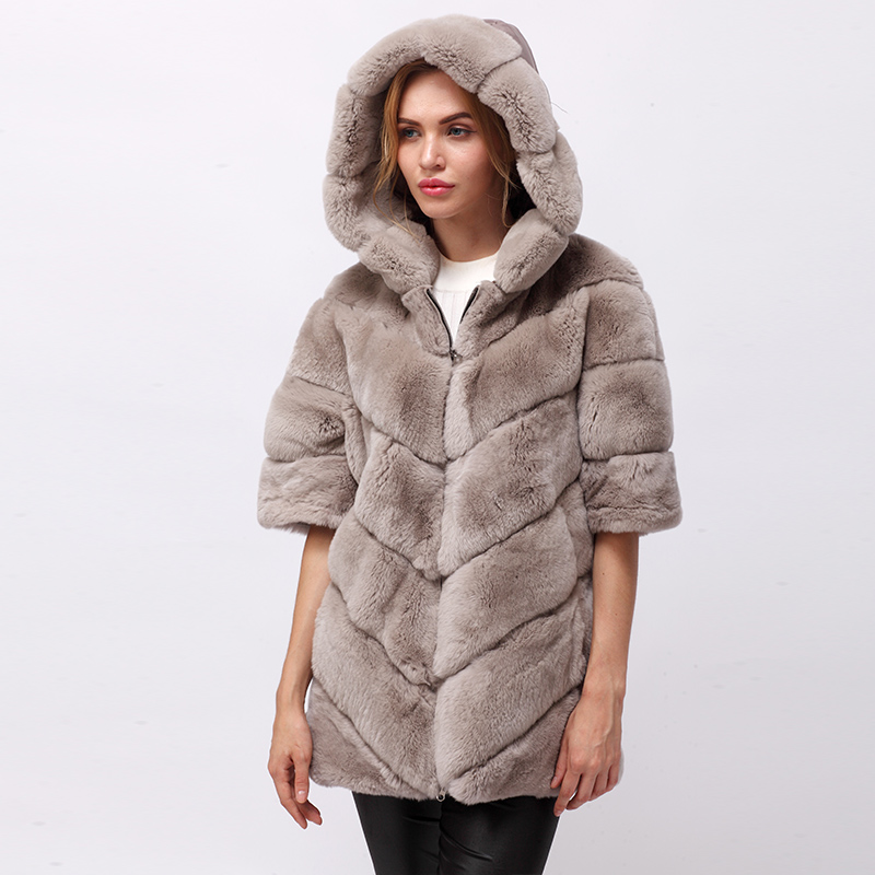 CNEGOVIK Short real Rex rabbit fur jacket with hood