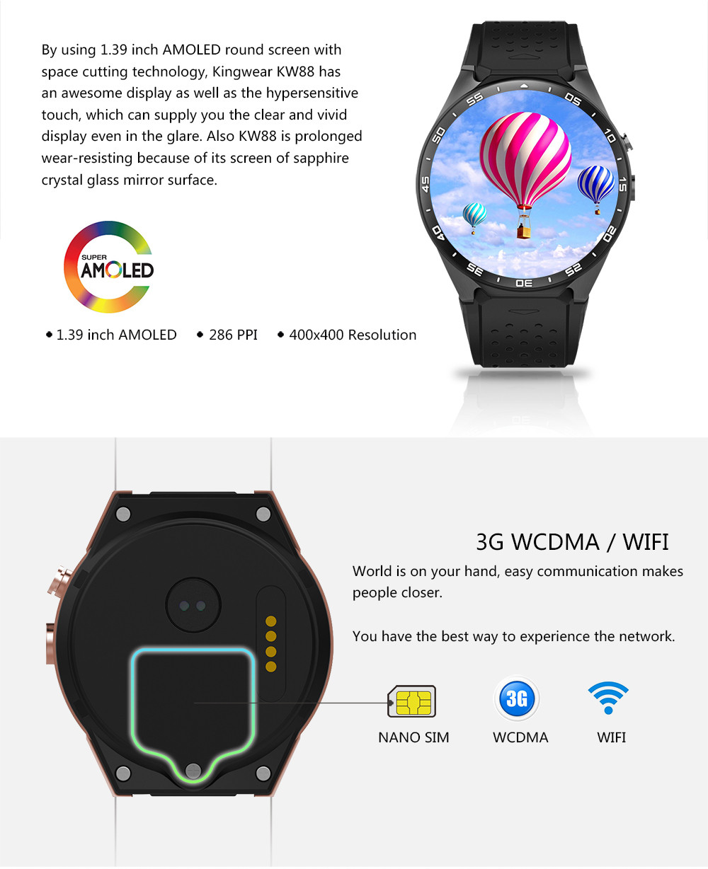 kw88 Android 5.1 Smart Watch 512MB + 4GB Bluetooth 4.0 WIFI 3G Smartwatch Phone Wristwatch Support Google Voice GPS Map цена