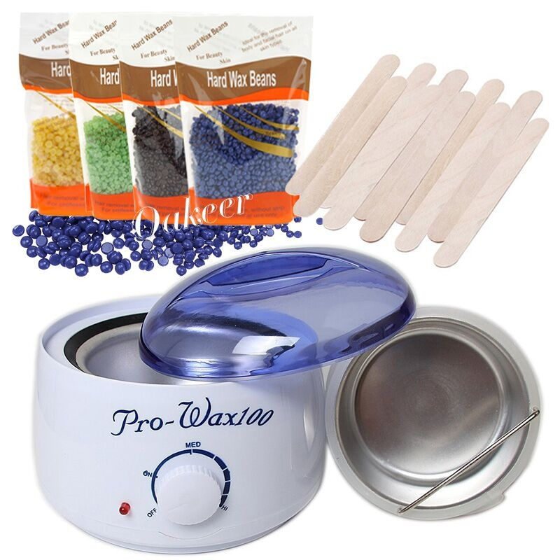 Electric Hot Wax Warmer Kit Safety Constant Temperature Heater Machine + Hard Wax Beans 100g + 2PC Wax Applicator Sticks