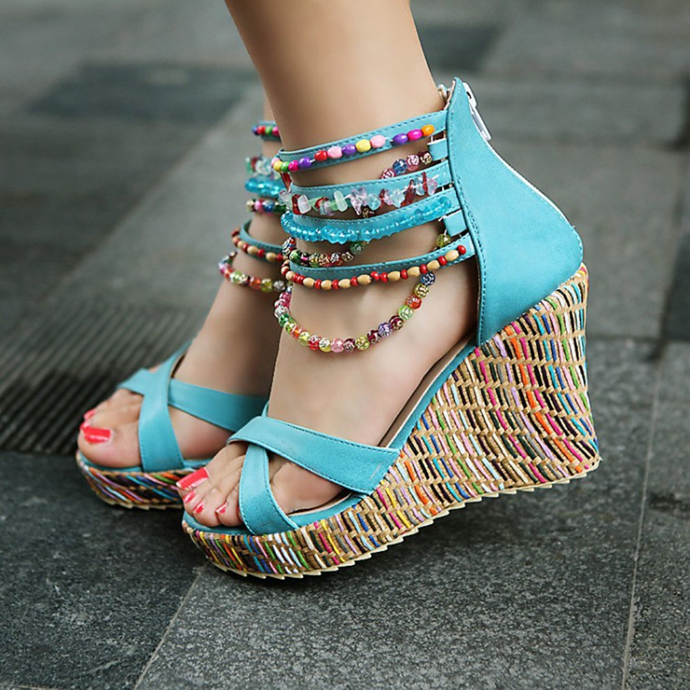 Sandalias mujer 2018 summer shoes high heels Wedge Woman Sandals Open Toe Gladiator Sandals Women thong bead platform shoe 2016 new style sandals women shoes woman summer wedges platforms and open toed high heels boots sandalias zapatos mujer