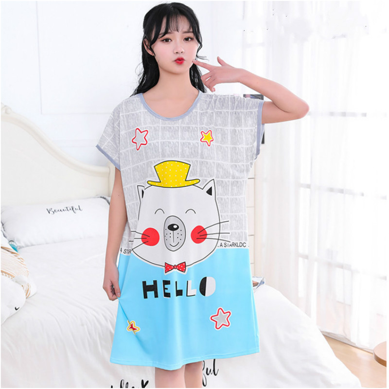 Women Cotton Sleepwear Plus Size Maternity Clothing Dress Sweet Cute Home Clothing Sleep ...