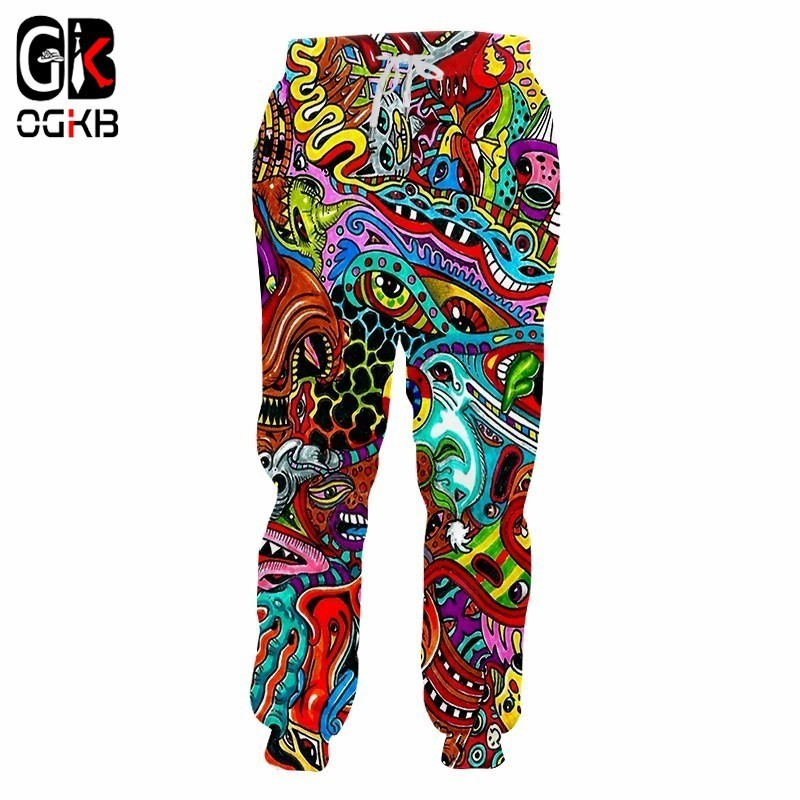 OGKB Jogger Pants Hombre Hot Long Loose 3D Sweat Pants Printed Red Ghost Hip Hop Plus Size 5XL Garment Unisex Spring Sweatpants