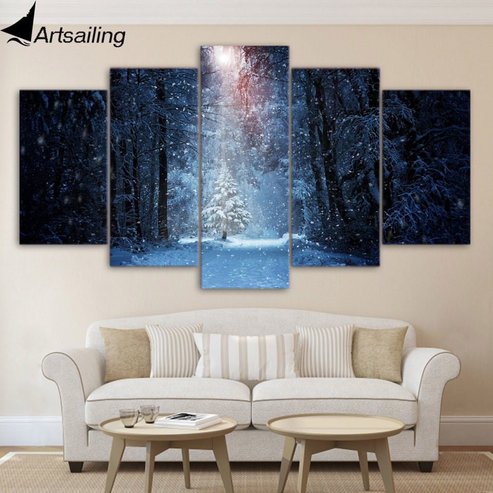 5 Piece Canvas Art Forest Winter Snow Posters Home Decor Canvas