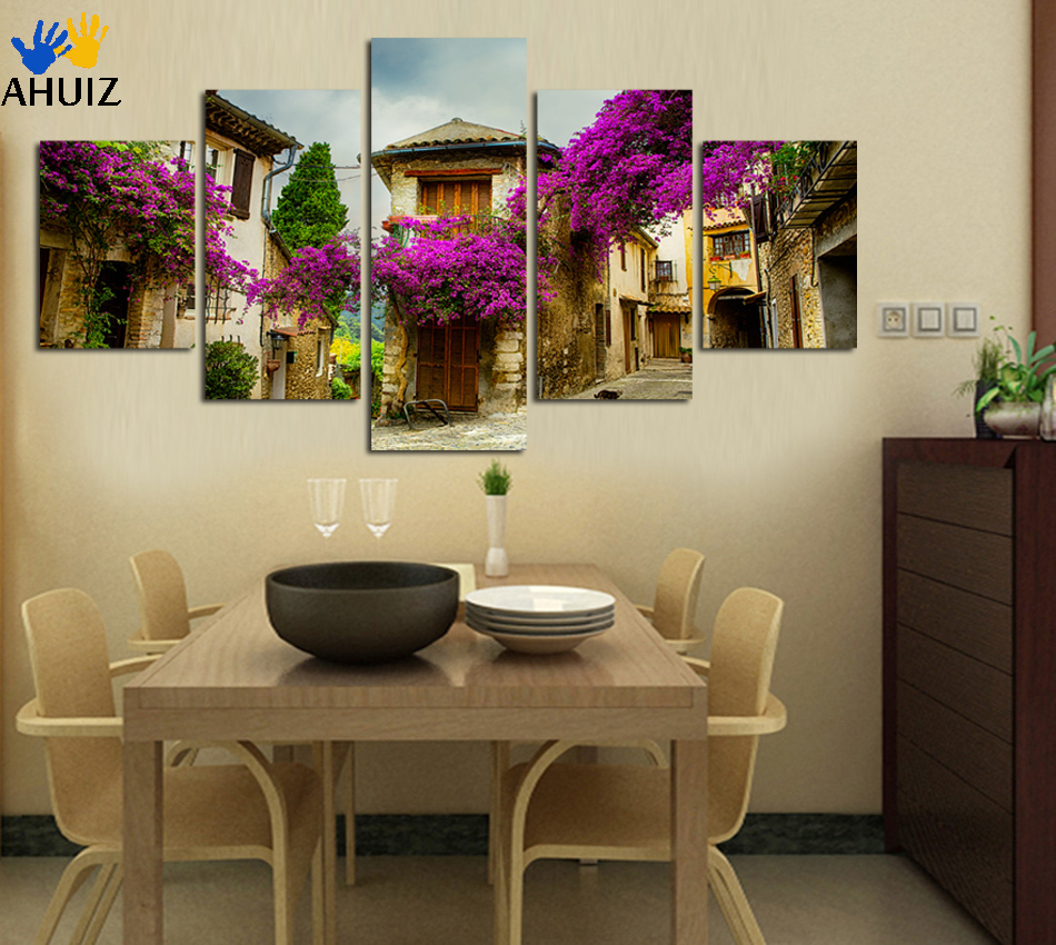 Purple And Yellow Kitchen Wall Art Unframed Kitchen: Aliexpress.com : Buy High Definition Purple Flower The
