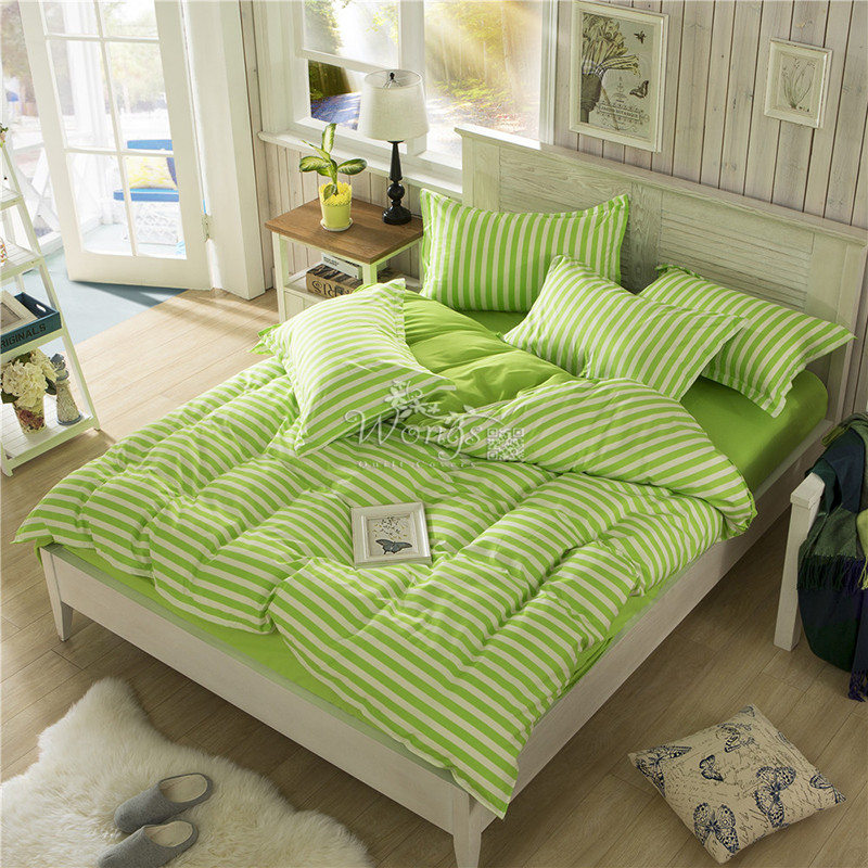 2016 Discount Bedding Set Apple Green Striped Queen Full