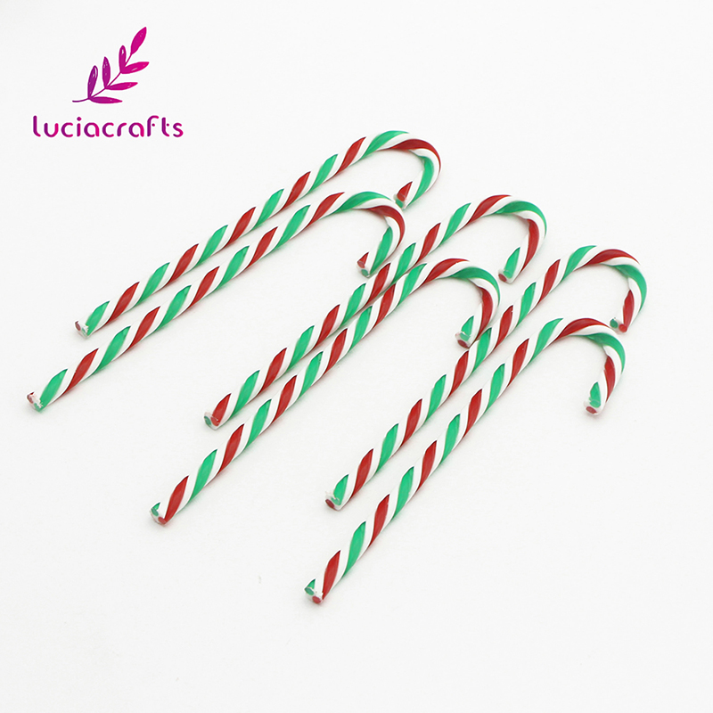 Lucia crafts 6pcs 15cm Acrylic Candy Pendant Crutch Ornament DIY Christmas Tree Hanging Decorations Accessories H0251