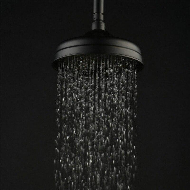 8 Inch Round Water Saving Shower Head Antique Black Copper Bathroom Round Top Rainfall Shower Head Sprayer