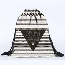 2016 latest design 3D digital printing aztec hakuna matata drawstring backpack black and white   polyester beach bag on sale