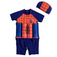Baby Boys Floating Swimwear Spiderman Cloth Cartoon Children Swimwear One-Piece Zipper Back Surfing Swimsuit with Cap Rashguard