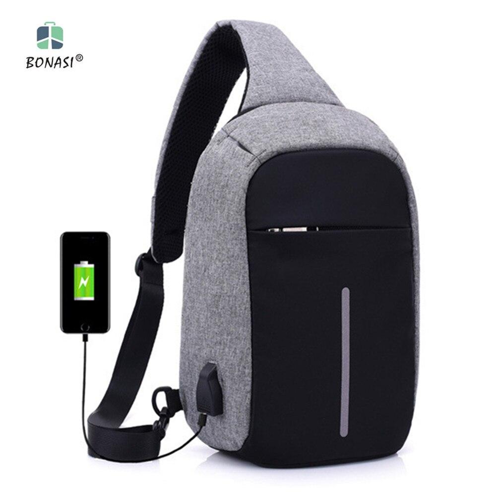цена на 2017 New Fashion Women/Men Chest pack USB Rechargeable Backpack Students School Bag For Girls Boys Rucksack mochila