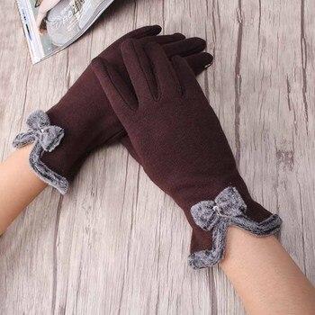 Eleganckie damskie rękawiczki z kokardką, z opcją dotyku smartphona