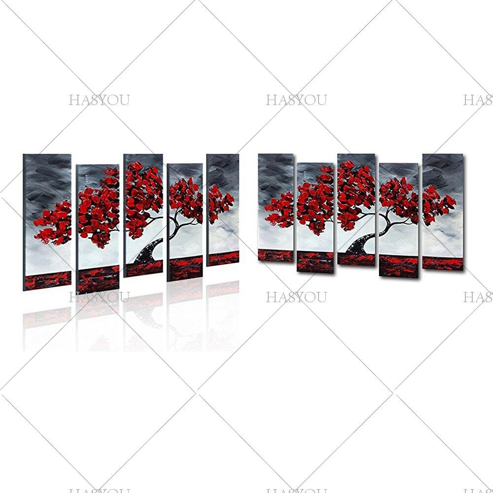 Livraison gratuite, 5 pièces peinture à l'huile abstraite moderne sur toile, peinture à l'huile de fleur chinoise - 4