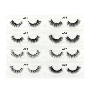 Image 3 - 100Pairs/Pack Eyelashes 3D Mink Lashes With Tray No Box Hand Made Full Strip Lashes Mink False Eyelashes Makeup eyelashes Fluffy