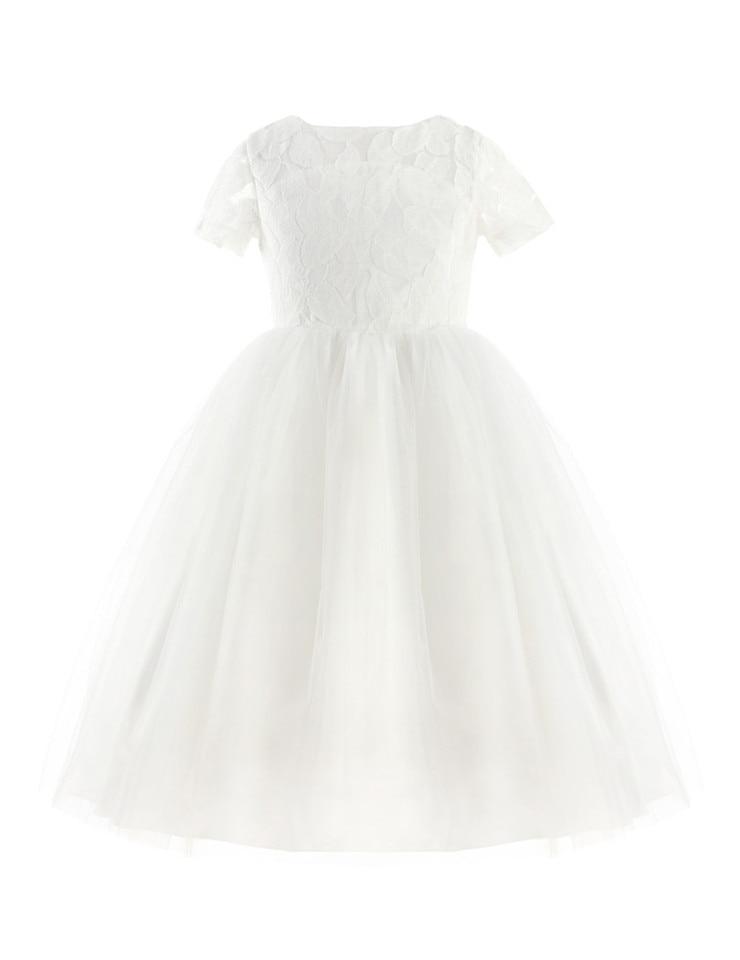 iiniim White Flower Girl Dresses Big Bow Princess Weddings Christening Party Tulle Baby Girl Dresses Age 2-14 Years