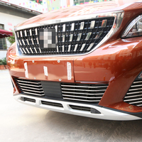 Fit For 2017 Peugeot 3008 GT Accessories Car Exterior Front Grilles Decoration Chrome Strip Trim Silvery Grill Chromium Styling