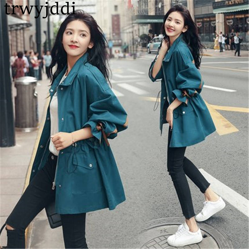 2020 New Korean Spring Autumn Trench Coat Female Short section waist was thin Casual windbreaker Women Outerwear N468